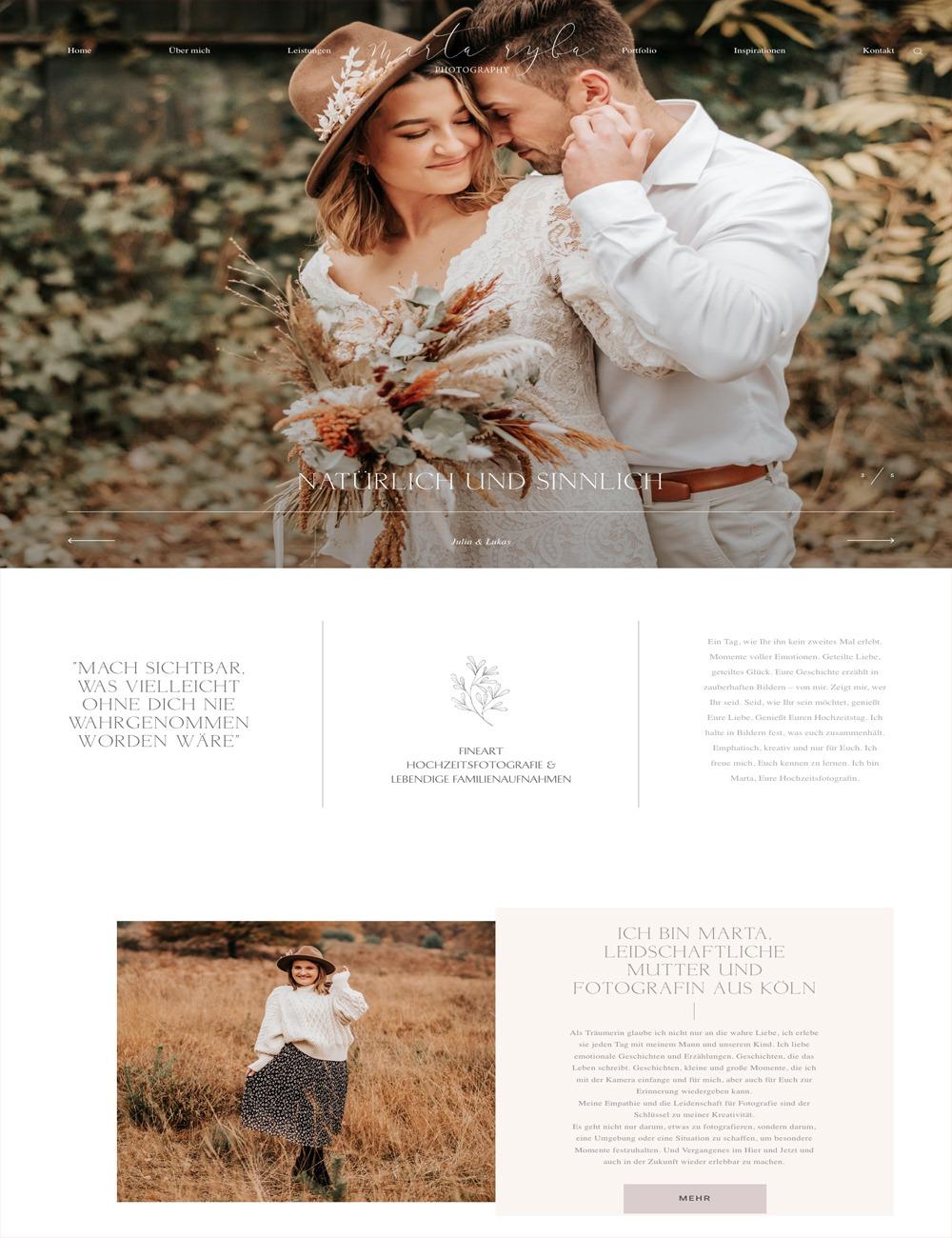 Webdesign für Marta Ryba Hochzeitsfotografie